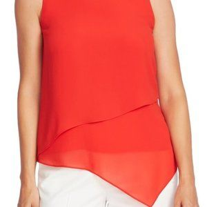 Vince Camuto peach sheer top tiered asymmetric top